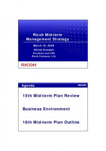 16th Mid-term Plan Outline