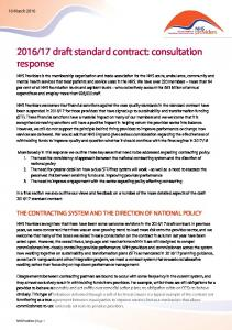 17 draft standard contract: consultation response