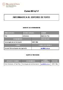 17 INFORMATICA III. EDITORES DE TEXTO
