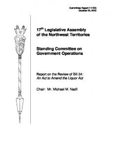 17 th Legislative Assembly of the Northwest Territories. Standing Committee on Government Operations