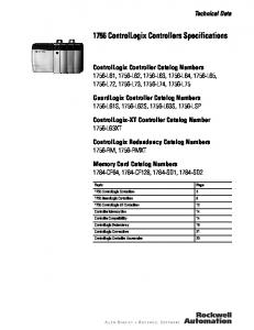1756 ControlLogix Controllers Specifications