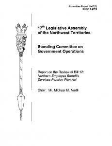 17th Legislative Assembly of the Northwest Territories. Standing Committee on Government Operations