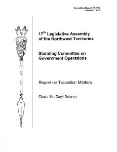 17th Legislative Assembly of the Northwest Territories. Standing Committee on Government Operations. Report on Transition Matters