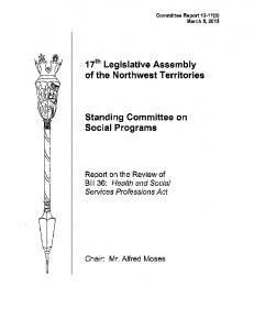 17th Legislative Assembly of the Northwest Territories. Standing Committee on Social Programs