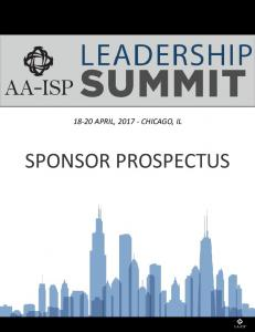 18-20 APRIL, CHICAGO, IL SPONSOR PROSPECTUS