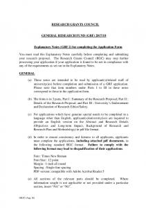 18. Explanatory Notes (GRF 2) for completing the Application Form