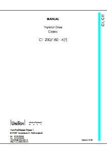180-4(f) MANUAL. Thyristor Drive Classic. Version Industrie Elektronik