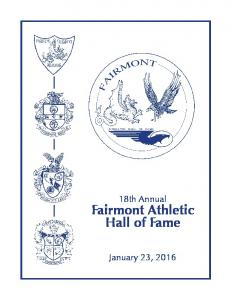 18th Annual. Fairmont Athletic Hall of Fame