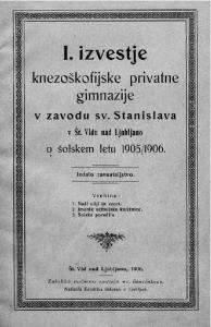 1906. Izdalo ravnateljstvo. Vsebina: