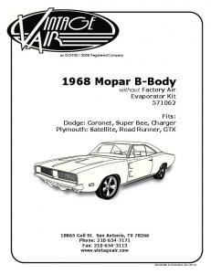 1968 Mopar B-Body without Factory Air Evaporator Kit