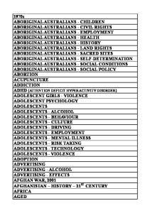1970s ABORIGINAL AUSTRALIANS - CHILDREN ABORIGINAL AUSTRALIANS - CIVIL RIGHTS ABORIGINAL AUSTRALIANS - EMPLOYMENT ABORIGINAL AUSTRALIANS - HEALTH