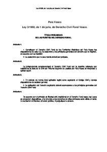 1992, de 1 de julio, de Derecho Civil Foral Vasco