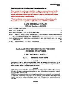 1996) PARLIAMENT OF THE REPUBLIC OF CROATIA CHAMBER OF DEPUTIES LAND REGISTRATION ACT
