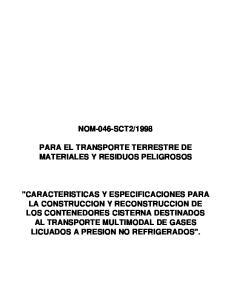 1998 PARA EL TRANSPORTE TERRESTRE DE MATERIALES Y RESIDUOS PELIGROSOS