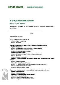 1999, DE 15 DE DICIEMBRE, DEL TURISMO