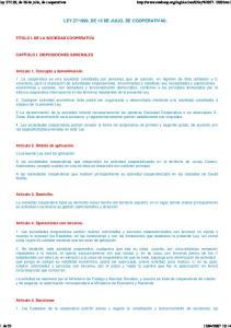 1999, DE 16 DE JULIO, DE COOPERATIVAS