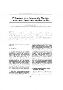 19th century earthquakes in Mexico: three cases, three comparative studies