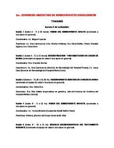 1er. CONGRESO ARGENTINO DE SOBREVIVIENTES ONCOLOGICOS TEMARIO