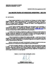 1era MACRO RUEDA DE NEGOCIOS ARGENTINA - BOLIVIA