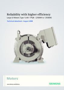 1PQ8 - (250kW to 1250kW) Technical datasheet August 2008