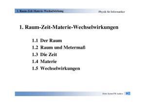 1Raum-Zeit-Materie-Wechselwirkungen