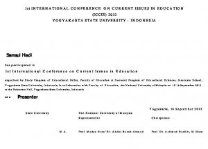1st INTERNATIONAL CONFERENCE ON CURRENT ISSUES IN EDUCATION (ICCIE) 2012 YOGYAKARTA STATE UNIVERSITY - INDONESIA