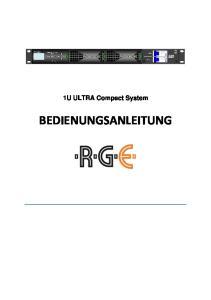 1U ULTRA Compact System BEDIENUNGSANLEITUNG