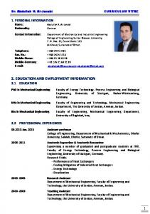 2. EDUCATION AND EMPLOYMENT INFORMATION 2.1 EDUCATION