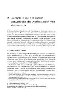 2 Einblick in die historische Entwicklung der Auffassungen von Mathematik