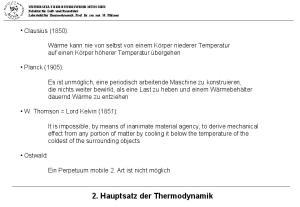 2. Hauptsatz der Thermodynamik