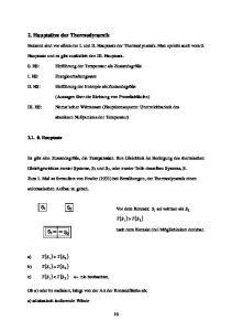 2. Hauptsätze der Thermodynamik