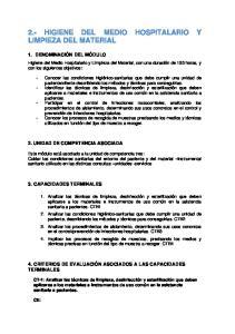 2.- HIGIENE DEL MEDIO HOSPITALARIO Y LIMPIEZA DEL MATERIAL