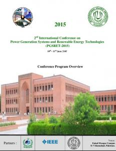 2 nd International Conference on Power Generation Systems and Renewable Energy Technologies (PGSRET-2015) Conference Program Overview