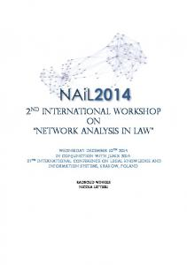 2 nd International Workshop on Network Analysis in Law
