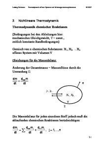 2. Nichtlineare Thermodynamik Thermodynamik chemischer Reaktionen