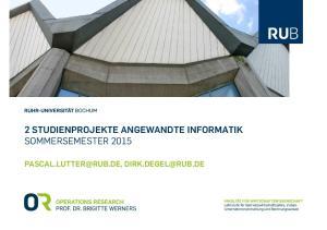 2 STUDIENPROJEKTE ANGEWANDTE INFORMATIK SOMMERSEMESTER 2015