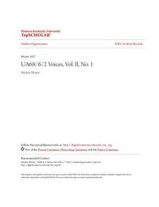 2 Voices, Vol. II, No. 1