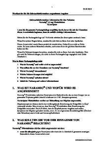 2. WAS SOLLTEN SIE VOR DER EINNAHME VON NARAMIG BEACHTEN?