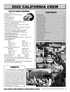 2002 CALIFORNIA CREW FACTS AND FIGURES CONTENTS CREDITS 2002 MEN S AND WOMEN S CREW MEDIA GUIDE 1