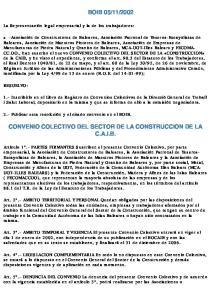 2002 CONVENIO COLECTIVO DEL SECTOR DE LA CONSTRUCCION DE LA C.A.I.B