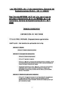 2003, de 17 de noviembre, General de Subvenciones (B.O.E )