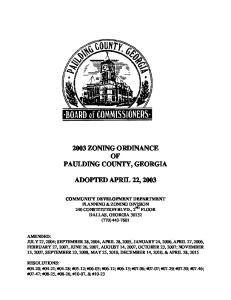 2003 ZONING ORDINANCE OF PAULDING COUNTY, GEORGIA