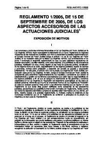 2005, DE 15 DE SEPTIEMBRE DE 2005, DE LOS ASPECTOS ACCESORIOS DE LAS ACTUACIONES JUDICIALES 1