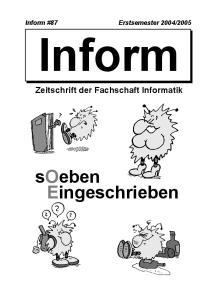2005. Inform. Zeitschrift der Fachschaft Informatik. Eingeschrieben