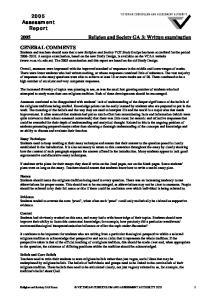 2005 Religion and Society GA 3: Written examination