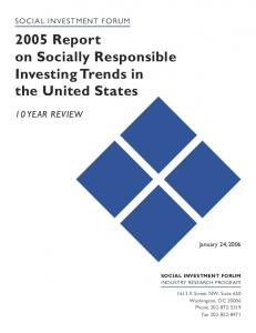 2005 Report on Socially Responsible Investing Trends in the United States