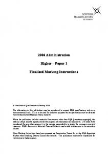 2006 Administration. Higher Paper 1. Finalised Marking Instructions
