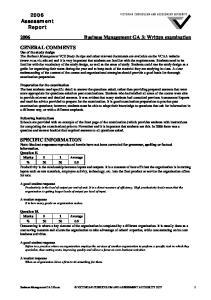 2006 Business Management GA 3: Written examination