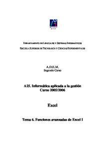 2006 Excel Tema 6. Funciones avanzadas de Excel I