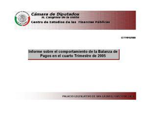 2006. Informe sobre el comportamiento de la Balanza de Pagos en el cuarto Trimestre de 2005